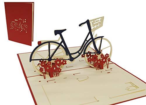 LIN-POP UP 3D Grußkarten Fahrrad, Glückwunschskarten...