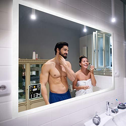 Badspiegel 80x70cm mit LED Beleuchtung - Wählen Sie Zubehör -...