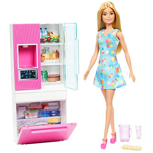 Barbie GHL84 - Deluxe-Set Möbel Kühlschrank und Puppe (blond)...