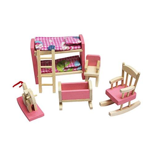 TOYMYTOY Puppenhausmöbel Bett Stuhl Set Kinderzimmer Schlafzimmer...