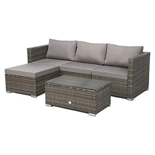 SVITA Queens Poly Rattan Sitzgruppe Couch-Set Ecksofa Sofa-Garnitur...