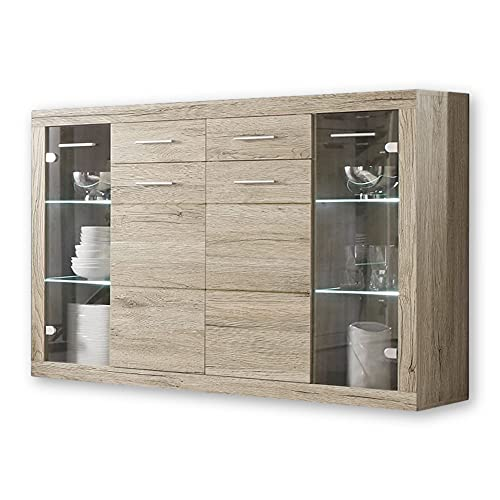 Stella Trading CAN CAN Highboard mit LED-Beleuchtung in Eiche Sonoma...