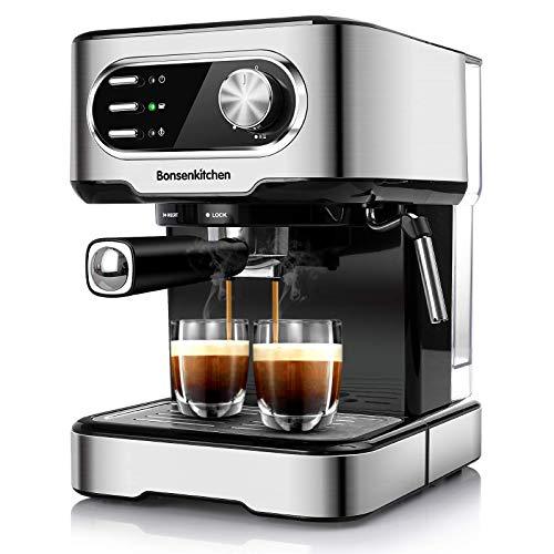 Bonsenkitchen Espressomaschine 15 Bar, für Cappuccino, Latte...