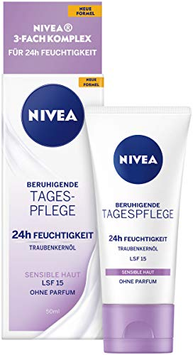 NIVEA Beruhigende Tagespflege 24h Feuchtigkeit (50 ml), Gesichtscreme...