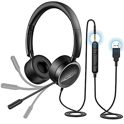 PC Headset mit Mikrofon New Bee USB/3,5mm Business Headset Noise...