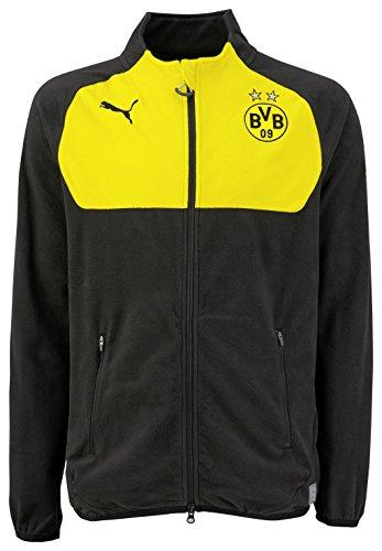 PUMA Herren Fleecejacke BVB Full Zip Fleece, black-Cyber yellow, M