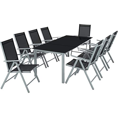 TecTake Aluminium Sitzgarnitur 8+1 Sitzgruppe Gartenmöbel Tisch &...