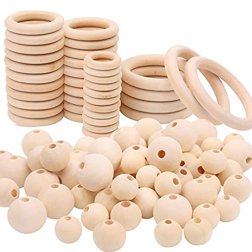 106 Stück Holzperlen und Holzring Set,Natürliche Runde Holzperlen...