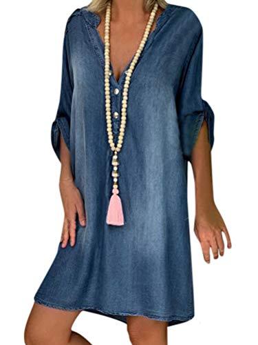 Minetom Sommerkleid Jeans Kleider Damen V-Ausschnitt Strandkleider...