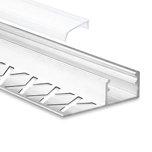 LED Aluminium Fliesenprofil F2 Alya 2 Meter inkl. Abdeckung Opal...
