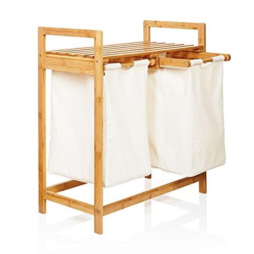 Lumaland Wäschekorb aus Bambus, mit 2 ausziehbaren Wäschesäcken,...