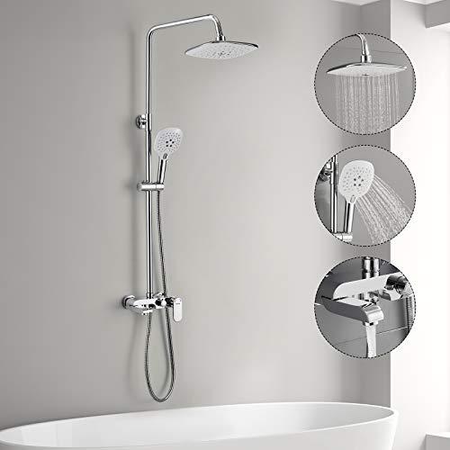 3-Funktion Duschsystem mit Armatur, WOOHSE Duschset Duschsäule mit...