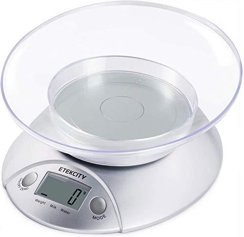 ETEKCITY 5KG Digitale Küchenwaage mit abnehmbarer Schüssel,...