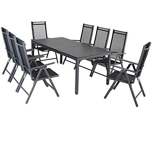 Casaria Aluminium Sitzgruppe 8 Klappstühle Hochlehner WPC Gartentisch...