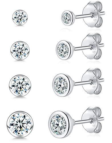 Damen Ohrstecker Silber 925-4 Paar Klein Sterling Silber Stäbe...