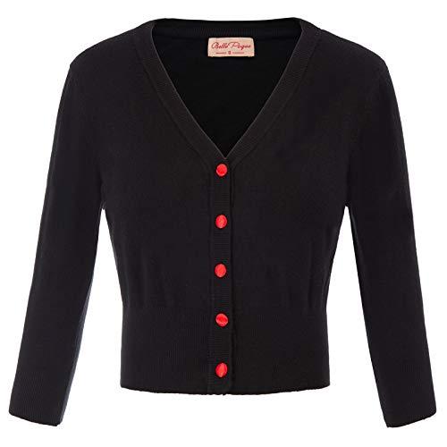 Damen Leichtes Bolero Contrast Button Strickjacke Soft Boleroshrug...