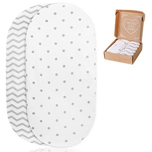 mimaDu® 2 x Spannbettlaken für Kinderwagen, Beistellbett, Wiege und...