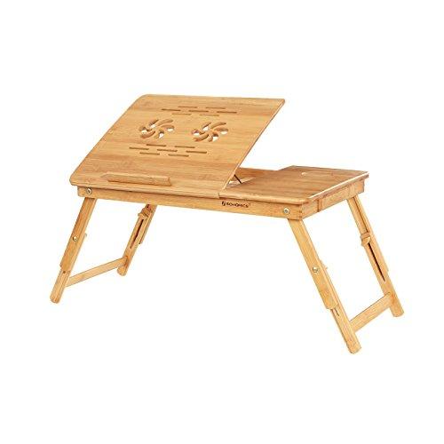 SONGMICS Laptopständer aus Bambus, höhenverstellbare...
