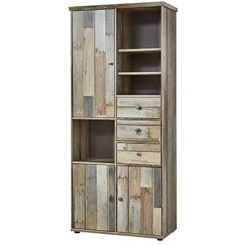 Bonanza Vintage Wohnzimmerschrank in Driftwood Optik - Retro Schrank...