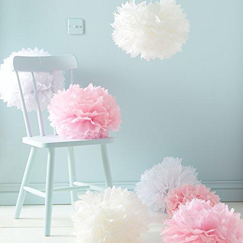 Lights4fun 9er Set Seidenpapier Pompoms weiß rosa crème Hochzeit...