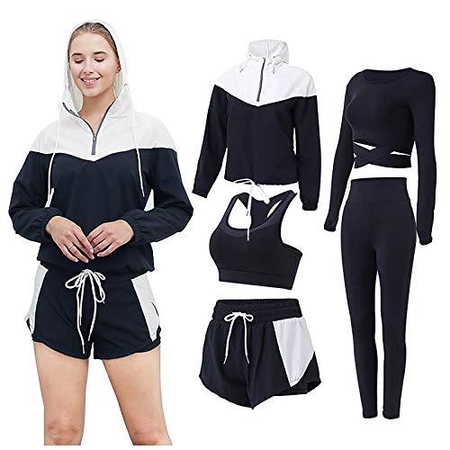MIUYQ Damen 5er-Set Sportanzüge Jogginganzug Trainingsanzug Yoga...