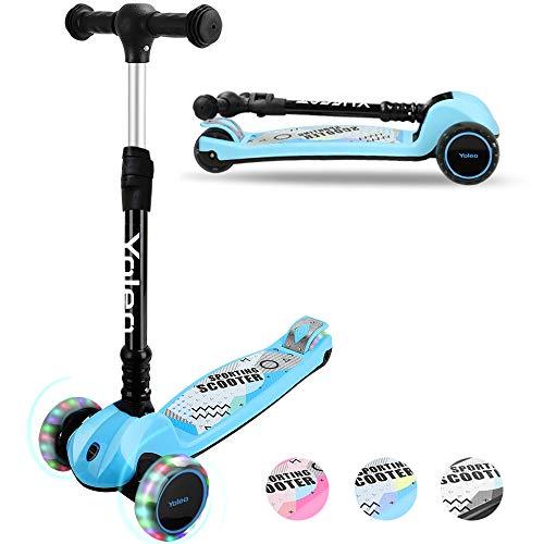 YOLEO Kinder Roller Kinderscooter Dreiradscooter mit LED Leuchtenden...