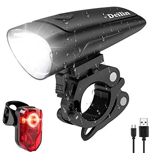 Deilin LED Fahrradlicht Set, 2 Licht-Modi Fahrradlampe Zugelassen...
