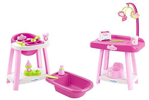 Ecoiffier – 3in1 Spielcenter für Puppen – Badewanne, Wickeltisch,...