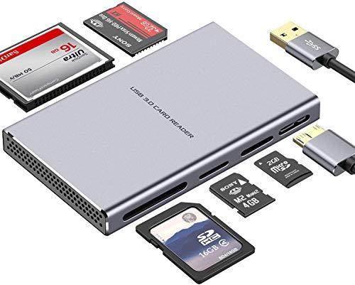 Super Speed USB Kartenleser, 5 in 1 Aluminium USB 3.0 Card Reader mit...