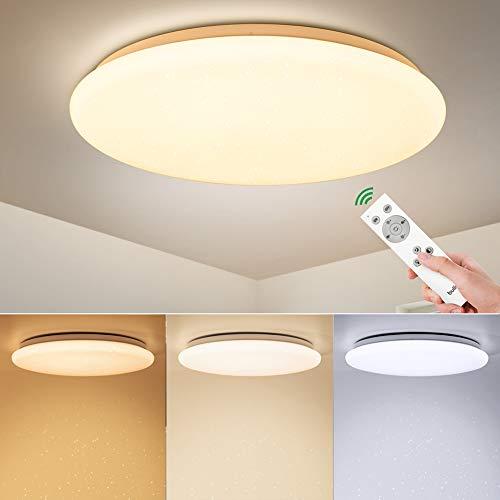BULING LED Schlafzimmer Deckenleuchte Dimmbar mit Fernbedienung 24W...