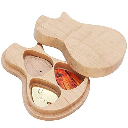Gitarren-Pick-Box, Ahorn-Massivholz-Box-Gitarren-Pick-Halter mit 3...