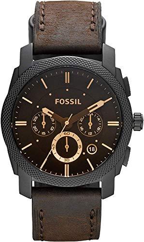 FOSSIL - Maschinen mittelgroßer Chronograph Braun Leder Edelstahl Uhr...