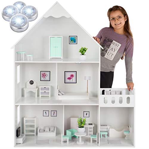 Kinderplay Puppenhaus Holz Groß, Barbie Puppenhaus - Puppenhaus Holz...