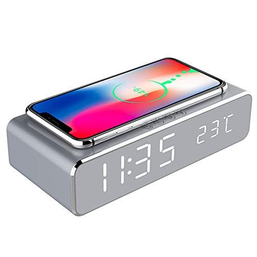 Youlala 2-in-1-LED-Wecker mit Qi-Ladegerät und Thermometer für...