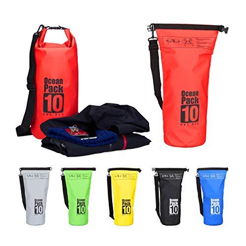 Relaxdays Ocean Pack 10 L, wasserdichter Dry Bag, ultraleichter...