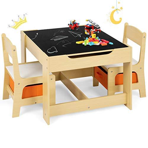 GOPLUS 3tlg. Kindersitzgruppe, 1 Kindertisch mit 2 Stühle,...