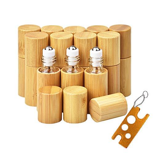 12 Stück Roll On Flaschen für ätherisches Öl mit Bambusschale,...