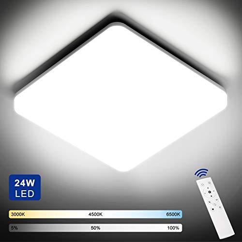 NIXIUKOL 24W LED Deckenleuchte Dimmbar, Deckenlampe mit Fernbedienung,...