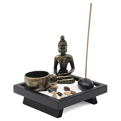 Jeteven Buddha -Statue Sitzend Chinesische Art Zen-Garten Harz...