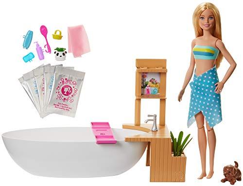 Barbie GJN32 - Wellness Sprudelbad Puppe (blond) und Spielset, mit...