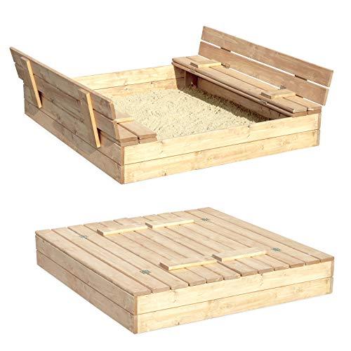 Sandkasten Sandbox Sandkiste mit Klappdeckel Sitzbänken 120x120x20...