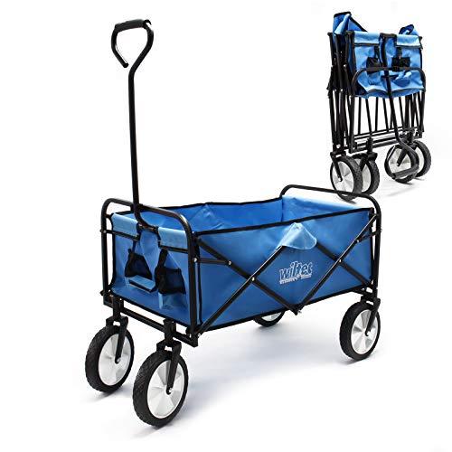 Faltbarer Bollerwagen mit Kunststoffreifen & Handgriff, blau, 80x46cm...