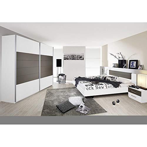 Rauch Möbel Schlafzimmer, Weiß / Lavagrau, bestehend aus Bett mit...