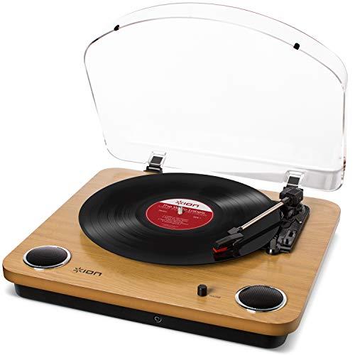 ION Audio Max LP - USB Plattenspieler Retro mit Lautsprecher, 3...