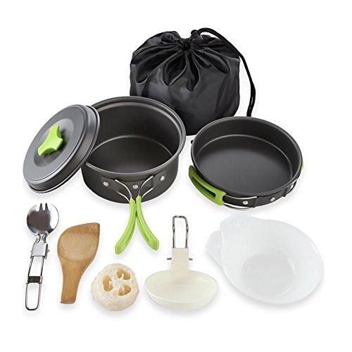 Qtiwe 10-Teilig Cookware Kit Picknick Töpfen Kochgeschirr...
