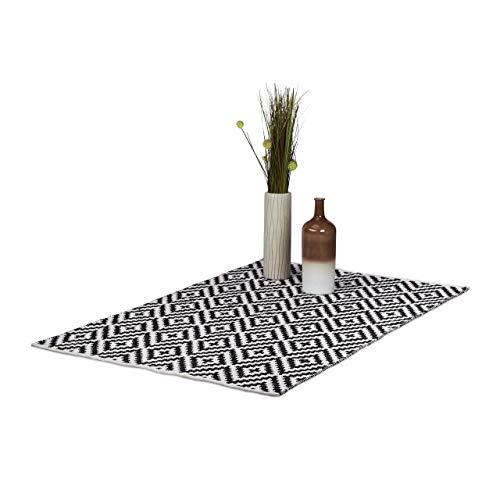 Relaxdays Teppich Baumwolle, Läufer rutschfest, Teppichläufer Flur,...