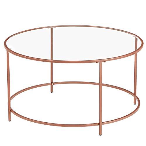 VASAGLE Couchtisch rund, Glastisch mit roségoldenem Stahlgestell,...