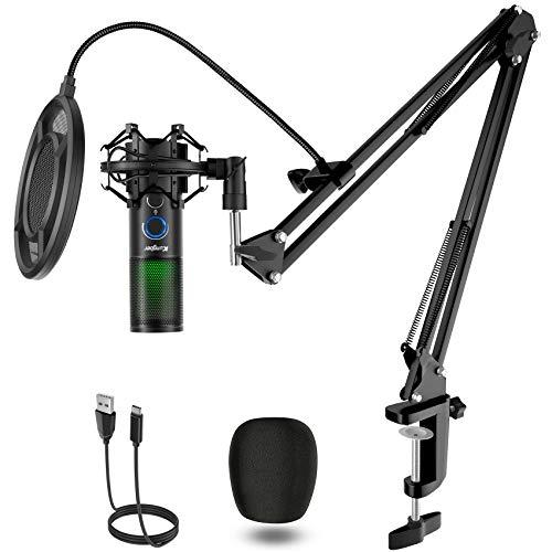Kungber USB Mikrofon PC, 5 RGB Licht Modi Gaming Microphone,...