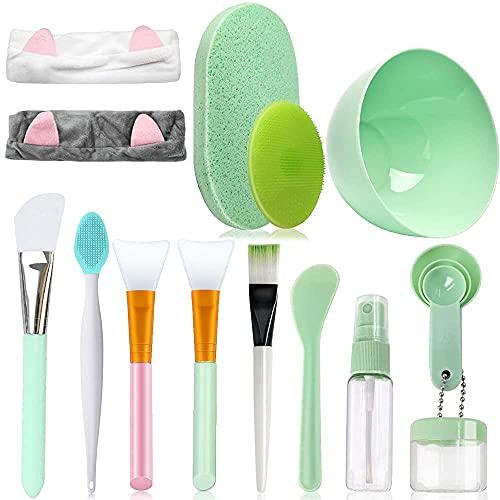 4 Stück Silikon Maskenpinsel, Make-up-Tools Set mit Haarbänder,...