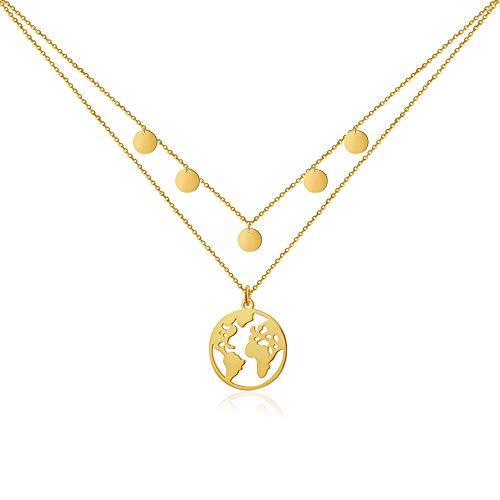 Good.Designs ® Weltkette mit 5 Coin Choker für Frauen | Mädchen...